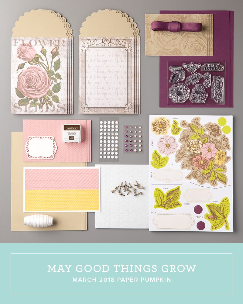 March 2018 May Good Things Grow Paper Pumpkin Kit by wendy lee, stampin up, handmade cards, rubber stamps, stamping, kit, subscription, floral,spring cards, vintage, mothers days,thank you, congrats, friend, #creativeleeyours,creatively yours,creative-lee yours,SU, SU cards