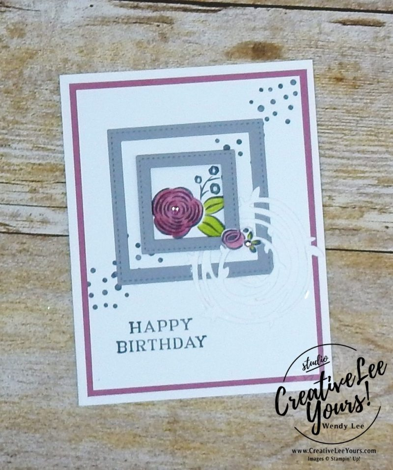 Stitched Frames Birthday by Jennifer Hamlin, Wendy Lee, creatively yours, creative-lee yours, Stampin Up, stamping, handmade, SU, #creativeleeyours, perennial birthday stamp set, diemonds team swap, flowers,coloring,white on white,#makeacardsendacard
