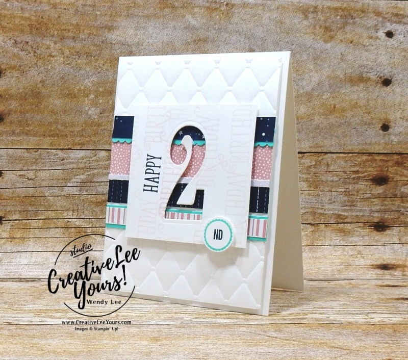 happy 2nd Birthday by wendy lee, second birthday, Stampin Up, SU, baby girl birthday card, happy birthday gorgeous stamp set, large number framelits, handmade, rubber stamps, stamping, make a difference stamp set, tabs for everything stamp set, tufted
