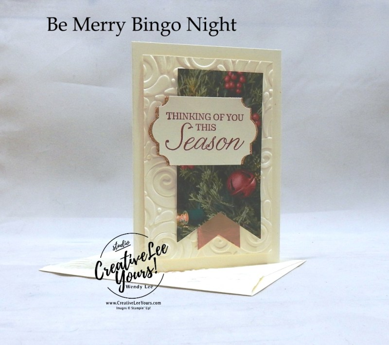 Thinking of You This Season Gift Card by wendy lee, Be Merry Bingo night, Forget me not, Stampin Up, stamping, handmade card, holiday, christmas, #creativeleeyours, creatively yours, creative-lee yours, SU, SU cards, rubber stamps, paper crafting, Winter woods stamp set,Merry Christmas, Happy Holidays, DIY, swirls, fast and easy