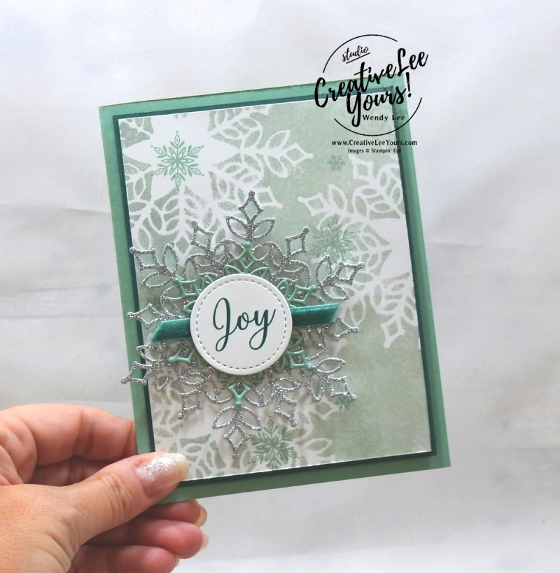 Snowflake Joy by wendy lee, Printable Tutorial, shimmer paint sponging, masking technique, DiemondsTeam, Stampin Up, #creativeleeyours, creatively yours, creative-lee yours, SU, business opportunity, make extra money, DIY, paper craft, limited time, exclusive, snowflake showcase, snow is glistening stamp set, snowfall thinlits, snowflakes