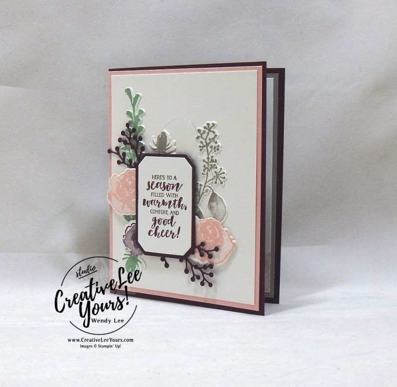 Season Of Warmth by Courtney Reisig, wendy lee, Stampin Up, stamping, handmade card, friend, thank you, birthday, grateful, holiday, #creativeleeyours, creatively yours, creative-lee yours, diemonds team, first frost stamp set, SU, SU cards, rubber stamps, demonstrator,FROSTED BOUQUET FRAMELITS DIES, winter flowers