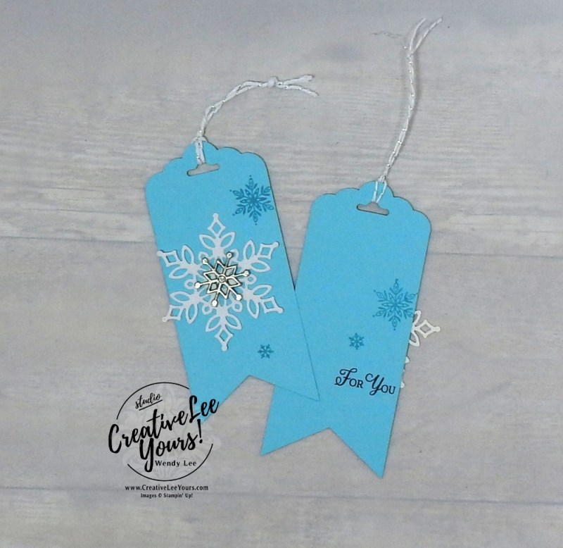 Snowflake Gift Tag by wendy lee, Printable Tutorial, annual holiday party, Stampin Up, #creativeleeyours, creatively yours, creative-lee yours, SU, DIY, paper craft, limited time, exclusive, snowflake showcase, snow is glistening stamp set, snowfall thinlits, snowflakes, stamp event