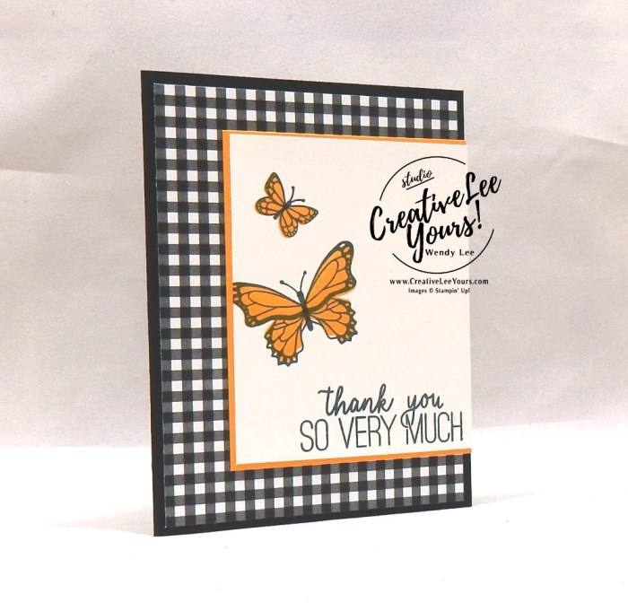 Simple Stamping Butterflies by wendy lee, Stampin Up, stamping, handmade card, friend, thank you, birthday, #creativeleeyours, creatively yours, creative-lee yours, SU, SU cards, rubber stamps, demonstrator, business, DIY, cling stamps, #simplestamping, butterfly gala, black and white, fast & easy, spotlighting, 2 step stamping