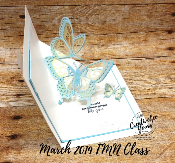 Butterfly Thanks Pop-Up by Wendy Lee, Tutorial, card club, stampin Up, SU, #creativeleeyours, hand made card, technique, friend, birthday, stamping, creatively yours, creative-lee yours, beauty abounds stamp set, butterfly beauty framelits, DIY, FMN, forget me knot, March 2019, class, pop up, card club, fun fold, butterflies