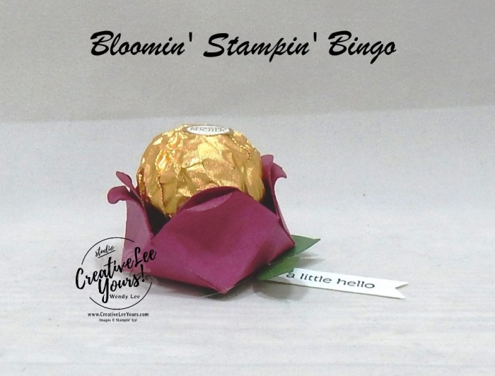 Rosebud Treat Holder by wendy lee, Bloomin bingo, prizes, class, make and take, night out, pfafftown, near winston salem, stampin' Up, stamping, SU, near clemmons, near lewisville, game, #simplestamping, stamping bingo, #creativeleeyours, creative-lee yours, creatively yours, hand made, birthday, spring, flower, treat holder, itty bitty greeting stamp set, ferrero rocher