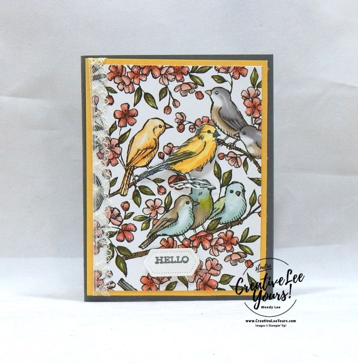 Hello Birds, Diemonds team, wendy lee, stampin up, stamping, SU, #creativeleeyours, creatively yours, creative-lee yours, SU events, business opportunity, DIY, fellowship, Free as a bird stamp set, rubber stamps, hand made, stamping, pattern paper, thank you, friend, encouragement, birds, lace