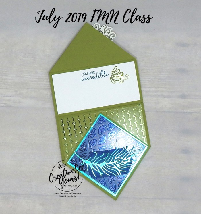 Diamond Easel Peacock by Wendy Lee,Tutorial, card club, stampin Up, SU, #creativeleeyours, hand made card, technique, friend, birthday, hello, thanks, flowers, celebration, birthday, birds, peacock, stamping, creatively yours, creative-lee yours, royal peacock stamp set, detailed peacock dies, fun fold, diamond easel, DIY, FMN, forget me knot, July 2019, class, card club, technique, foil, jewels