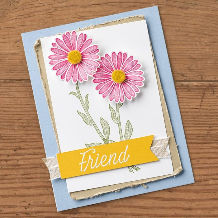 Daisy Lane Bundle with Wendy Lee, video, card club, stampin Up, SU, #creativeleeyours, hand made card, daisy punch, friend, birthday, hello, thanks, flowers, celebration, daisies, stamping, creatively yours, creative-lee yours, daisy lane stamp set, DIY, product tip
