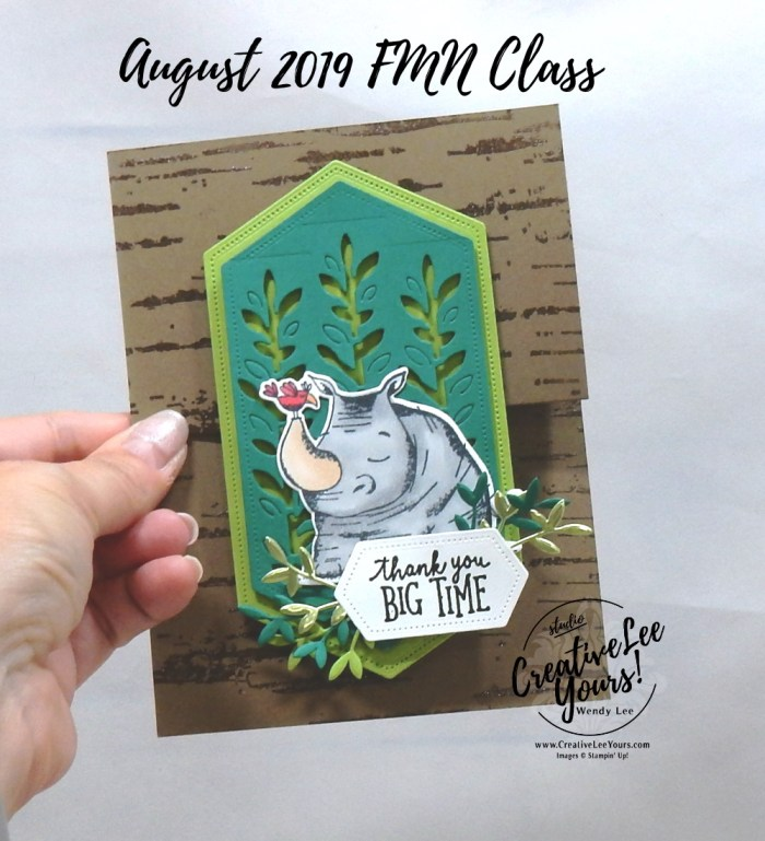 Vertical Double Z-Fold by Wendy Lee, Tutorial, card club, stampin Up, SU, #creativeleeyours, creatively yours, creative-lee yours, hand made card, technique, fun fold, friend, birthday, hello, thanks, thinking of you, stamping, Animal Outing stamp set, Birch stamp set, embossing, #DIY, #papercrafting, FMN, forget me knot, august 2019, class, card club, rubber stamp, giraffee, rhino, masculine