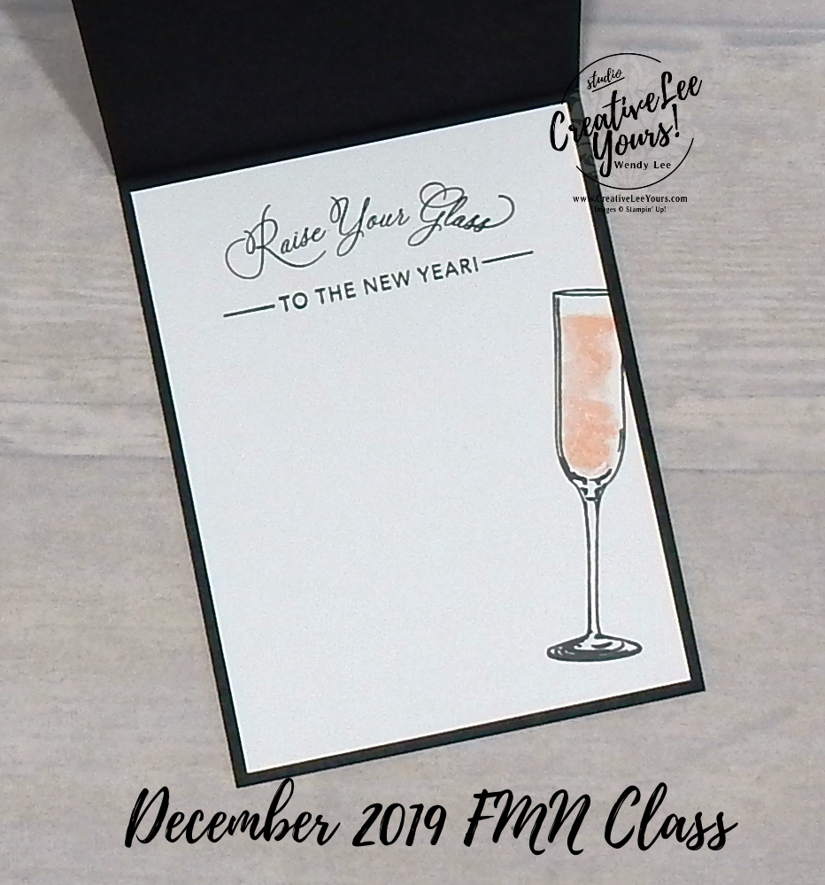 New Years Swing reveal by Wendy Lee, Tutorial, card club, stampin Up, SU, #creativeleeyours, hand made card, technique, Sip Sip Hooray stamp set, Cheers to that stamp set, friend, celebration, stamping, creatively yours, creative-lee yours, DIY, FMN, forget me knot, December 2019, class, card club, glasses, swing reveal, fun fold, new years, stitched stars dies, sip & celebrate dies, word wishes dies