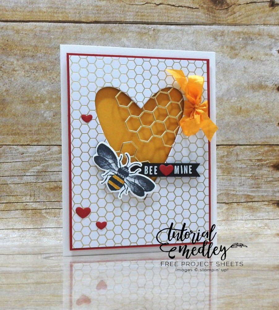 BEE Mine by Wendy Lee, stampin Up, SU, #creativeleeyours, handmade card, Honey Bee stamp set, Make a difference stamp set, valentine, bees, heart, honeycomb, friend, celebration, stamping, creatively yours, creative-lee yours, DIY, card class, tutorial, paper crafts, tutorial medley