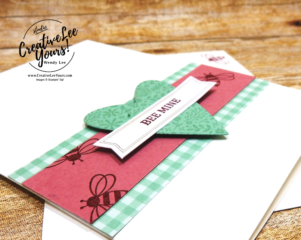 Simple Bee Mine, Wendy Lee, January 2020 Paper Pumpkin Kit, I'll Bee Yours, stampin up, handmade cards, rubber stamps, stamping, kit, subscription, #creativeleeyours, creatively yours, creative-lee yours, SU, wedding, love, valentine, bee mine, alternate, bonus tutorial, fast & easy, DIY, #simplestamping, card kit, hearts, paper crafts, card kits, craft kit, FMN, Forget me not, card class, card club