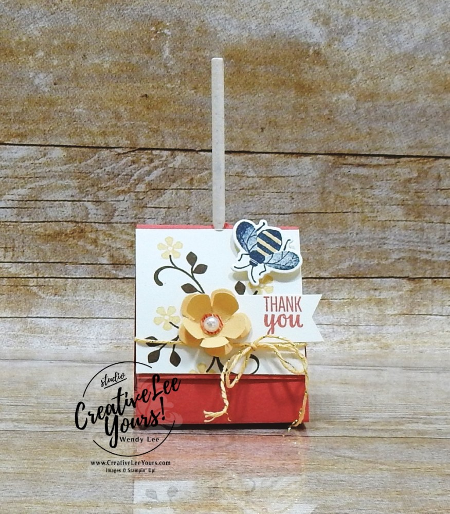 Thank you treat holder by Wendy Lee, stampin Up, SU, #creativeleeyours, handmade card, sending you thoughts stamp set, friend, celebration, stamping, thank you, creatively yours, creative-lee yours, DIY, birthday, flowers, bingo, SAB, paper crafts, Sale-a-bration, small bloom punch, metallic twine, tootsie pop