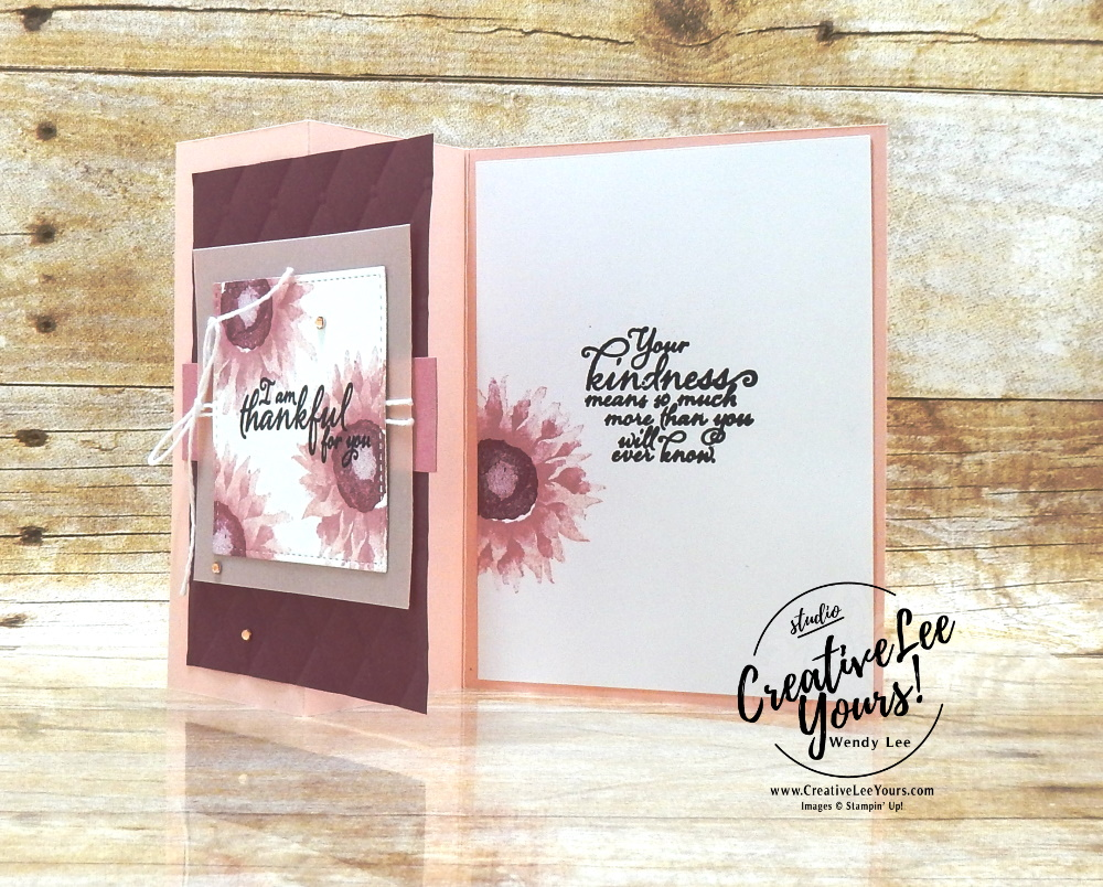 Thankful For You by Wendy Lee, Tutorial, stampin Up, SU, #creativeleeyours, handmade card, friend, celebration, thank you, thinking of you, stamping, creatively yours, creative-lee yours, DIY, birthday, embossing, papercrafts, tufted, international highlights, kylie bertucci, blog hop, fun fold, #makeacardsendacard ,#makeacardchangealife, z-fold, painted harvest stamp set, retiring products, retiring stamps