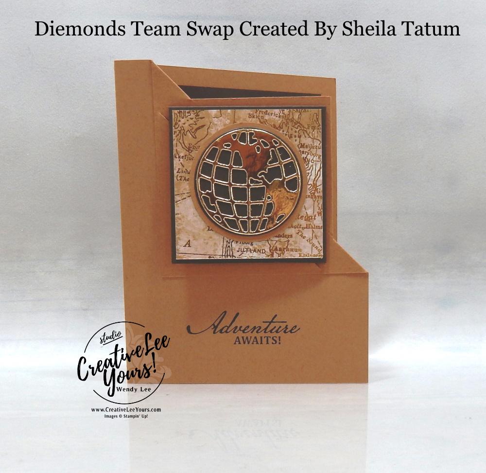 Adventure Awaits Corner Fold by Sheila Tatum, Wendy Lee, stampin Up, SU, #creativeleeyours, handmade card, beautiful world stamp set, globe, friend, celebration, stamping, creatively yours, creative-lee yours, DIY, birthday, bookmark, fun fold, corner fold, papercrafts, business opportunity, #makeacardsendacard ,#makeacardchangealife , #diemondsteam ,#diemondsteamswap ,#businessopportunity, rubberstamps, #stampinupdemonstrator , #cardmaking, #papercrafts , #papercraft , #papercrafting , #papercraftingsupplies, #papercraftingisfun, masculine card