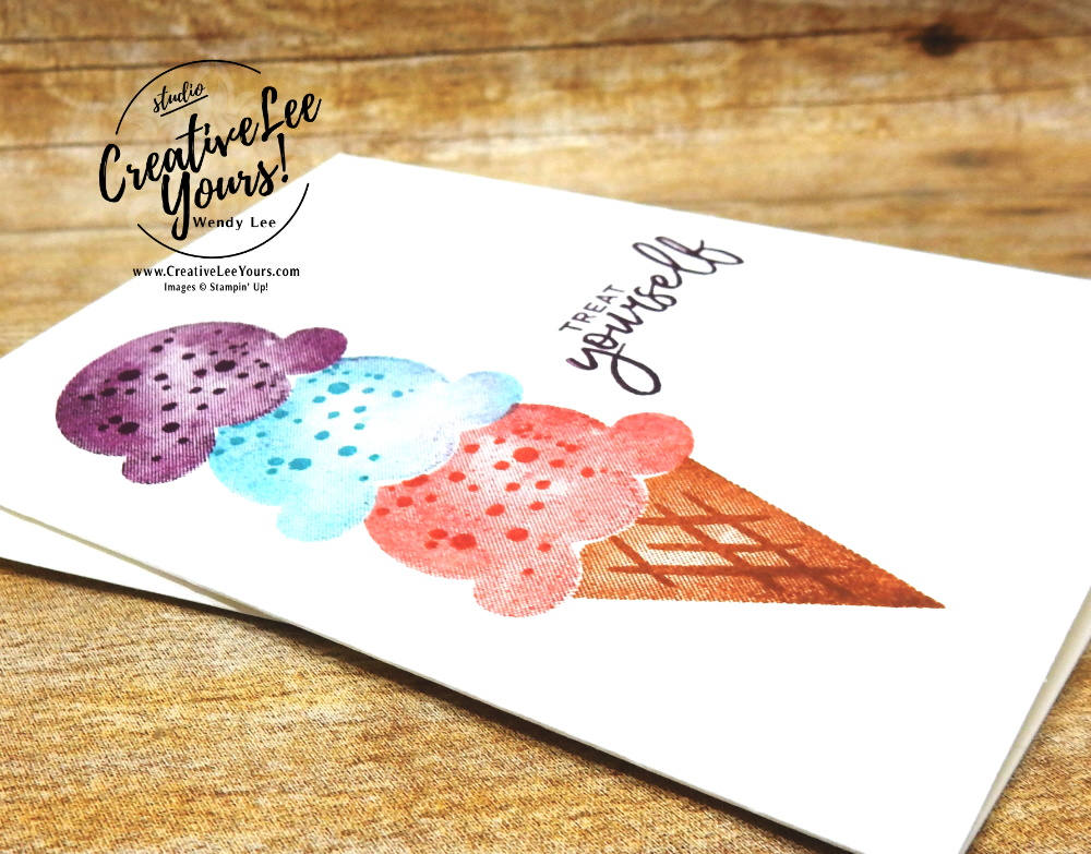 Adorable Note Card by Wendy Lee, stampin Up, SU, #creativeleeyours, handmade card, friend, celebration , birthday, stamping, creatively yours, creative-lee yours, DIY, papercrafts, rubberstamps, #stampinupdemonstrator , #papercrafts , #papercraft , #papercrafting , #papercraftingsupplies, #papercraftingisfun, Facebook live, video , sweet ice cream stamp set, paper embossing, #tutorial ,#tutorials, ice cream, #simplestamping, masking, stamping off
