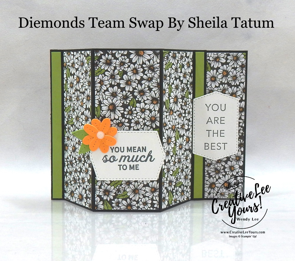 Daisy Mother's Day by Sheila Tatum, Wendy Lee, In Bloom stamp set, Tasteful Touches stamp set, Welcoming Window stamp set, stampin up, stamping, SU, #creativeleeyours, creatively yours, creative-lee yours, #cardmaking #handmadecard #rubberstamps #stamping, friend, celebration, congratulations, thank you, hello, birthday, warm wishes, Mothers Day, stamping, DIY, paper crafts, #papercrafting , #papercraftingsupplies, #papercraftingisfun , #makeacardsendacard ,#makeacardchangealife, #diemondsteam, #businessopportunity, #diemondsteamswap, flowers, fun fold