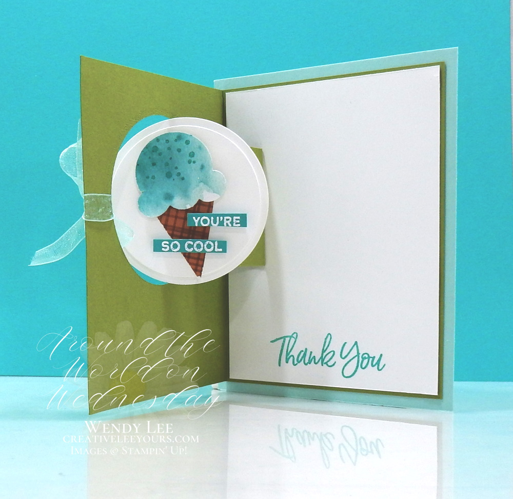 You're So Cool by Wendy Lee, stampin Up, SU, #creativeleeyours, handmade card, friend, celebration , birthday, stamping, creatively yours, creative-lee yours, DIY, papercrafts, rubberstamps, #stampinupdemonstrator , #papercrafts , #papercraft , #papercrafting , #papercraftingsupplies, #papercraftingisfun, sweet ice cream stamp set, #tutorial ,#tutorials, ice cream, popsicles, fun fold, vertical easel, 2 step stamping technique, thank you, #aroundtheworldonwednesday, #aWOWbloghop, Vertical Easel Popsicles, pop and flip