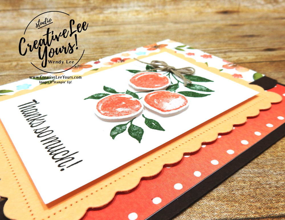 Thanks So Much by Wendy Lee, Sweet As A Peach stamp set, Peach Dies, Scallop Contour Dies, stampin up, stamping, SU, #creativeleeyours, creatively yours, creative-lee yours, #cardmaking #handmadecard #rubberstamps #stamping, friend, celebration, congratulations, thank you, hello, birthday, warm wishes, stamping, DIY, paper crafts, #papercrafting , #papercraftingsupplies, #papercraftingisfun , #makeacardsendacard ,#makeacardchangealife, #diemondsteam, #businessopportunity, #diemondsteammeeting, Peaches, 2 step stamping, fun fold