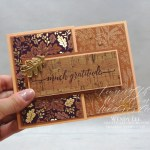 Much Gratitude by Wendy Lee, stampin Up, SU, #creativeleeyours, handmade card, friend, celebration , birthday, stamping, thank you, autumn, creatively yours, creative-lee yours, DIY, papercrafts, rubberstamps, #stampinupdemonstrator , #papercrafts , #papercraft , #papercrafting , #papercraftingsupplies, #papercraftingisfun, Heartfelt Wishes stamp set, fall cards, thankful, grateful, thanks, cork paper, blackberry beauty, falling leaves, #aroundtheworldonwednesday, #aWOWbloghop