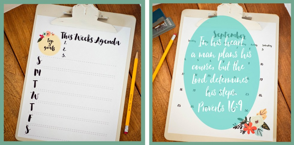 printable calendar and organizational sheets {free}