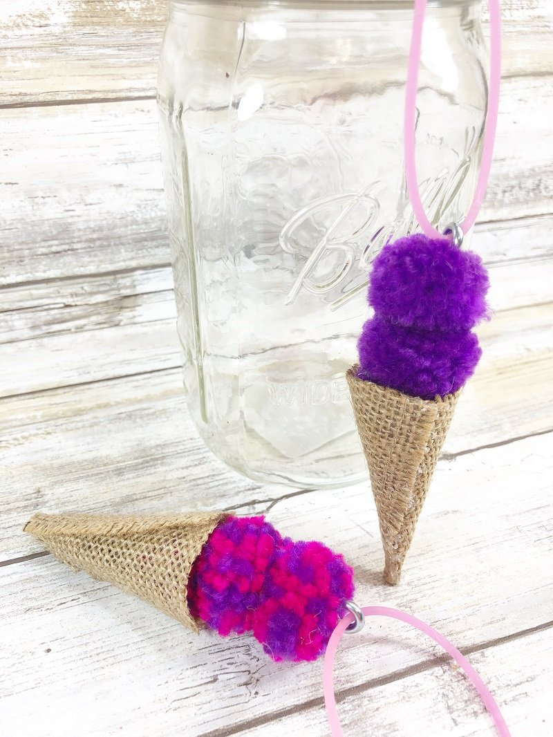 Pom Pom and Burlap Ice Cream Cone Necklace by Creatively Beth
