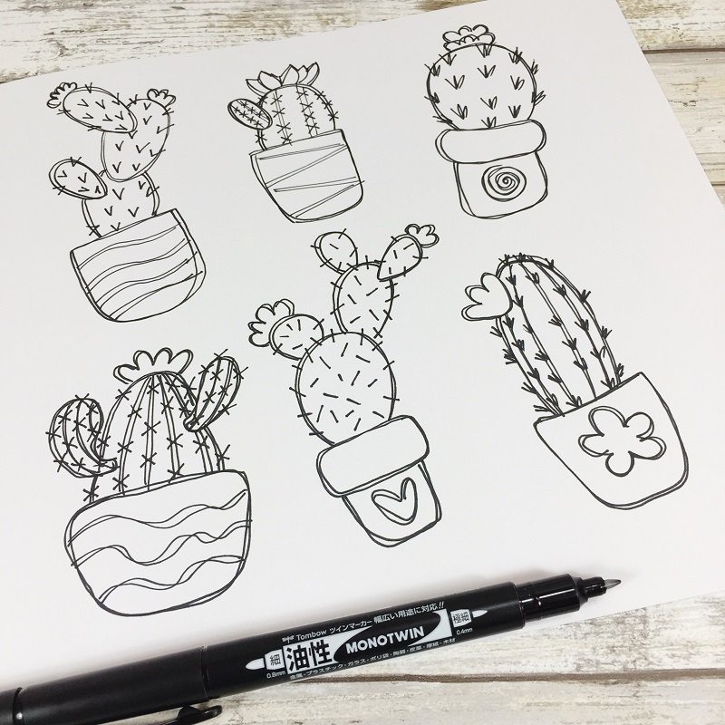 HOW TO DRAW SUCCULENTS WITH A FREE PRINTABLE CREATIVELY BETH #freeprintable #cactus #doodle