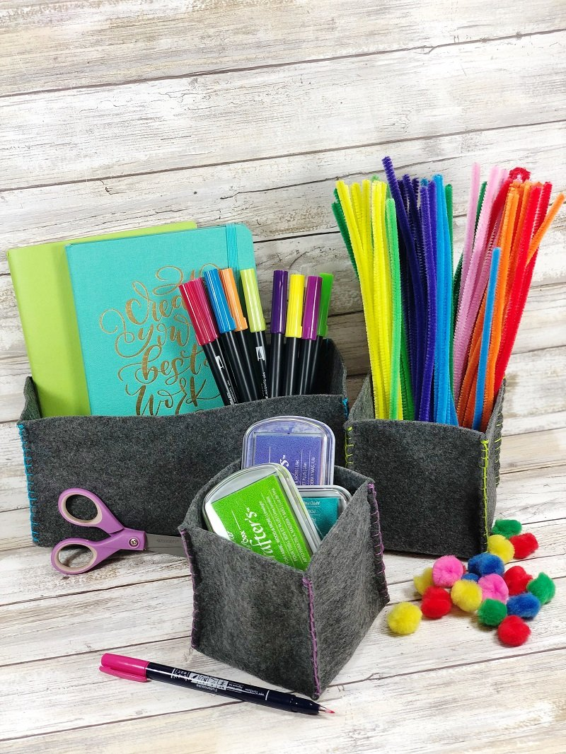 Create Back to School Kunin Felt Storage Baskets by Creatively Beth