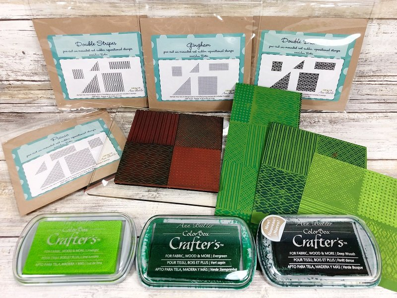 Creatively Beth faux quilt stamping for leaves