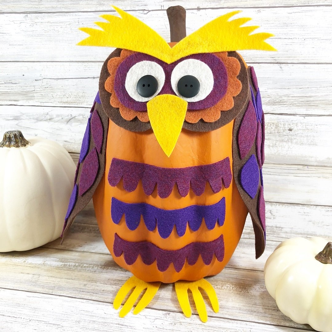Creatively Beth No-Carve Owl Pumpkin