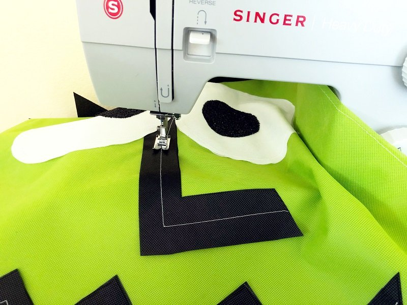 Creatively Beth sew features on Frankenstein costume with a sewing machine