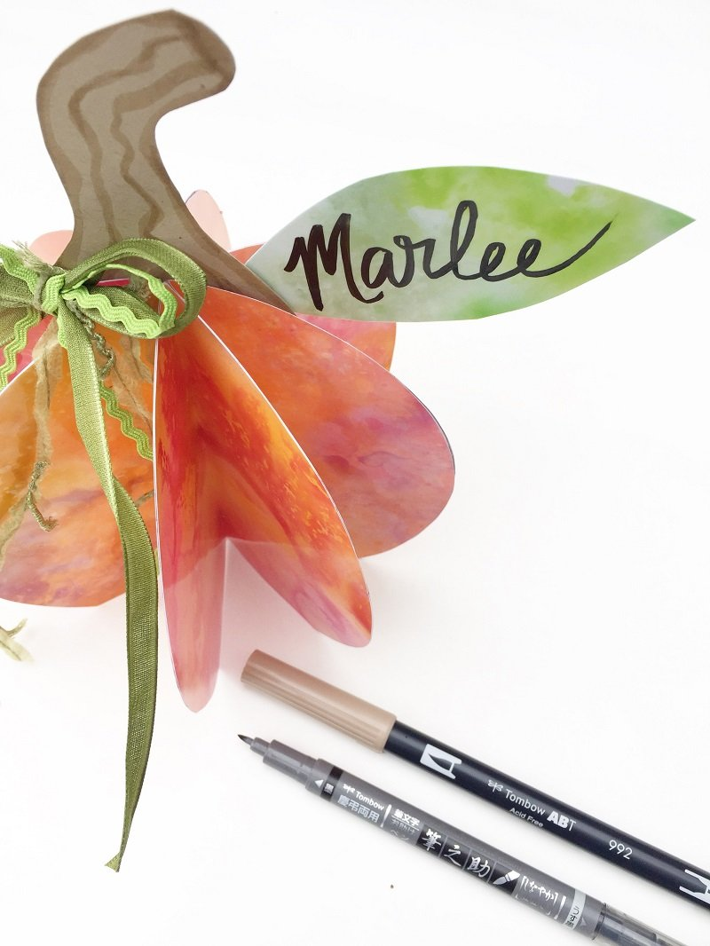 Creatively Beth 3D Watercolor Pumpkin Place Cards for Thanksgiving with Tombow #creativelybeth #thanksgivingcrafts #placecards #pumpkin #tombow #watercolor