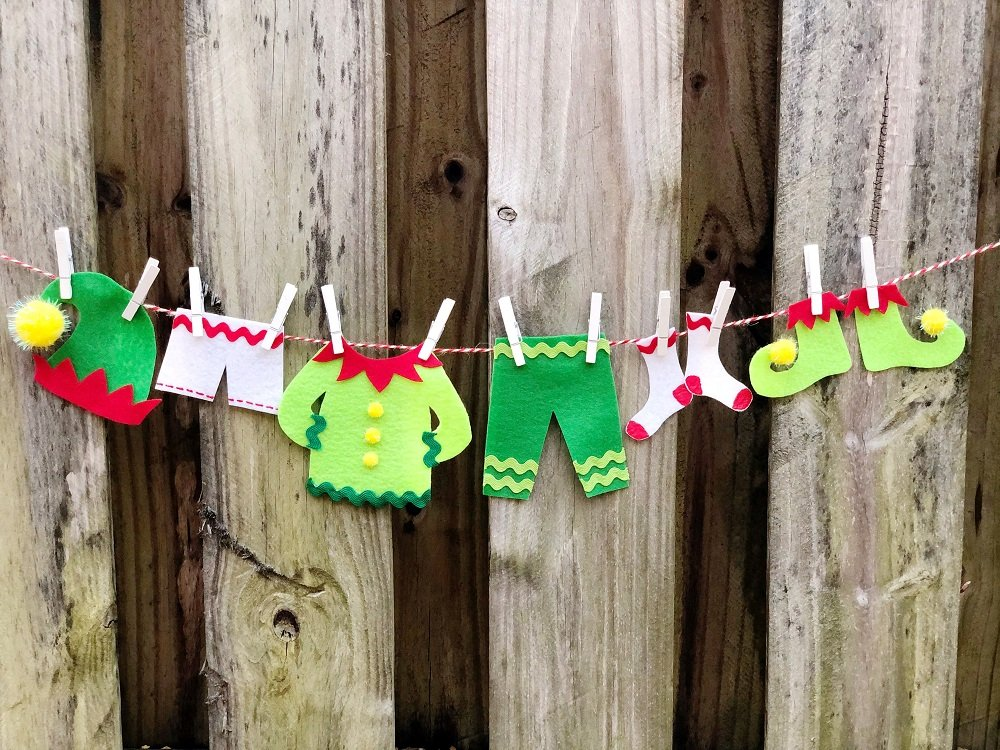 Elf Clothesline Garland with FREE Printable Patterns #creativelybeth #createwithkunin #christmascrafts #feltgarland