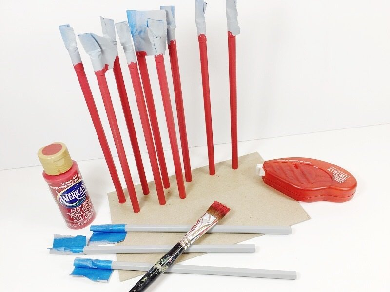 Paint pencils red using adhesive to stand them up until dry Creatively Beth #creativelybeth #catinthehat #drseuss #thing1andthing2 #kidscrafts
