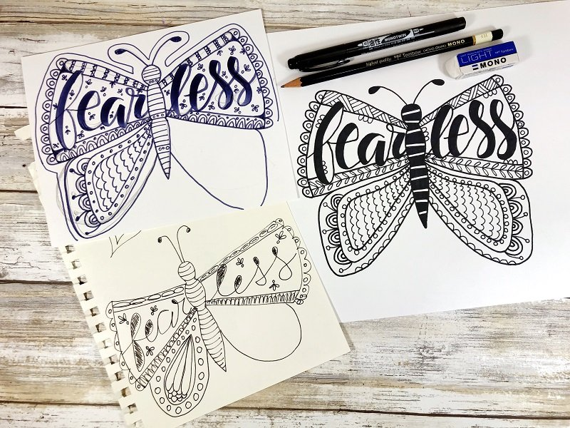 Drawing Process Fearless Butterfly Free Printable from Creatively Beth #freeprintable #butterfly #onelittleword #drawing #doodle #handlettering