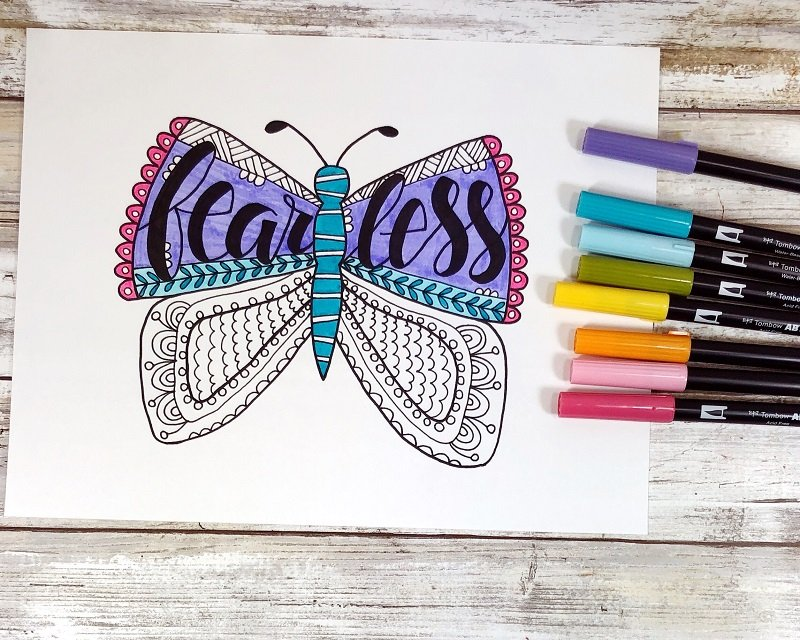Coloring with Tombow Dual Brush Pens Fearless Butterfly Free Printable from Creatively Beth #freeprintable #butterfly #onelittleword #drawing #doodle #handlettering