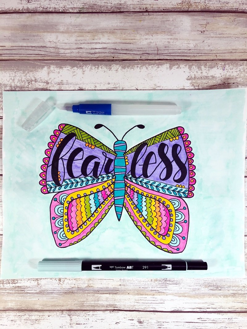 Watercoloring with Tombow Dual Brush Pens Fearless Butterfly Free Printable from Creatively Beth #freeprintable #butterfly #onelittleword #drawing #doodle #handlettering