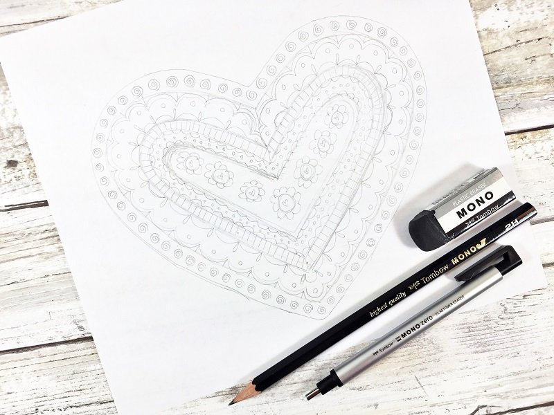 Fill in the patterns Creatively Beth #free #printable #handlettered #tombowdualbrushpens #heart #drawing