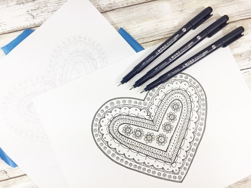 Complete the inked in sketch Creatively Beth #free #printable #handlettered #tombowdualbrushpens #heart #drawing