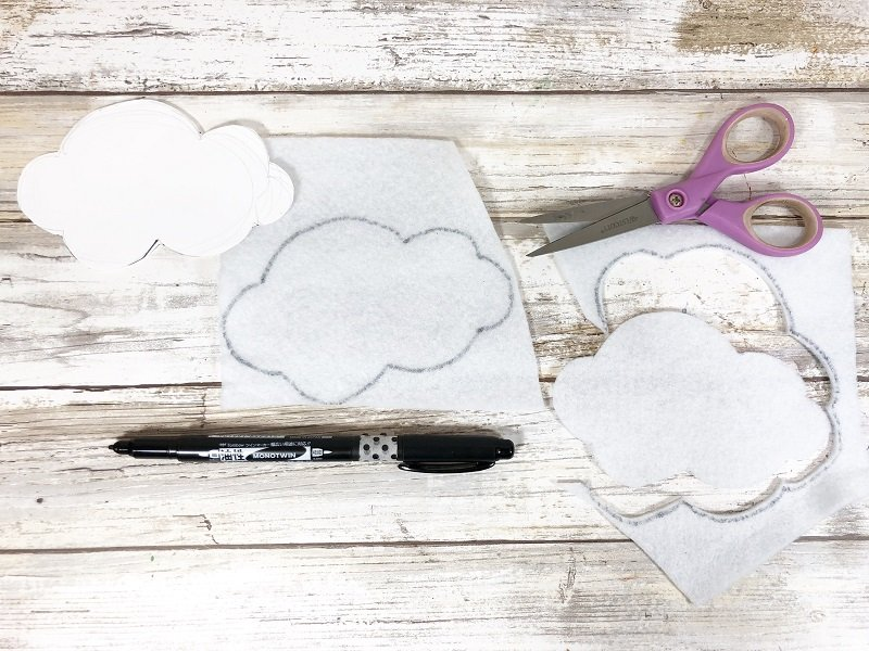 Trace and cut Cloud pattern from felt Creatively Beth #creativelybeth #rainbow #craftweek2020 #craftsticks #kidscraft