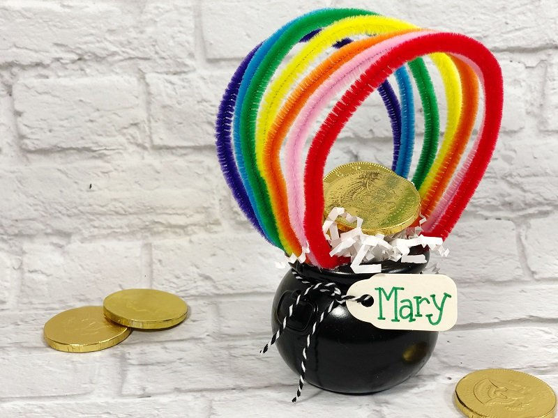 Rainbow Pot of Gold Craft with Dollar Tree supplies Creatively Beth #creativelybeth #rainbow #potofgold #dollartree #stpatricksdaycrafts