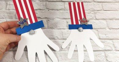 Dollar Tree Uncle Sam Gnome Kids Craft Creatively Beth #creativelybeth #patrioticcraft #kids #craft #handprint