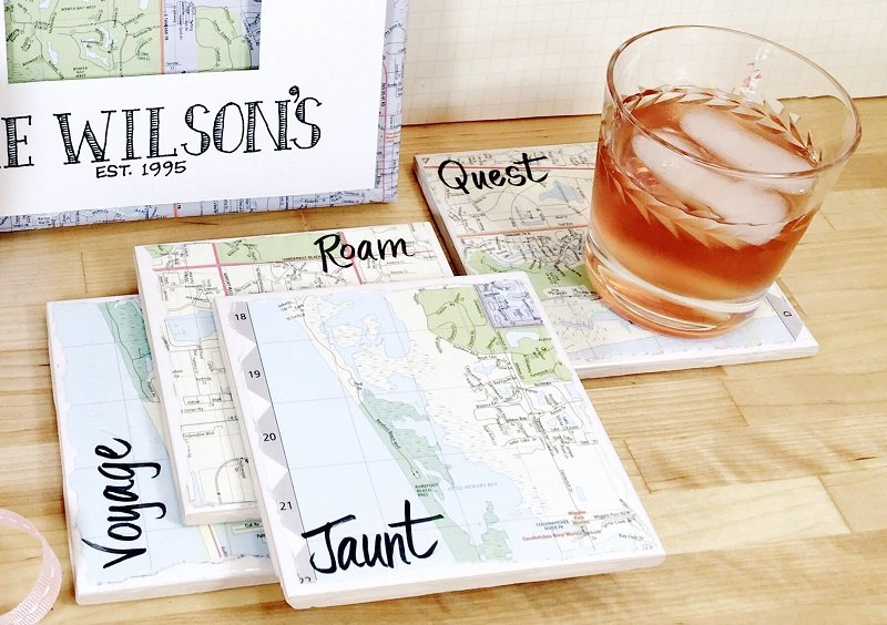 Recycle a Map Three Ways a canvas, coasters and a gift bag Creatively Beth #creativelybeth #upcycled #recycled #crafts #maps