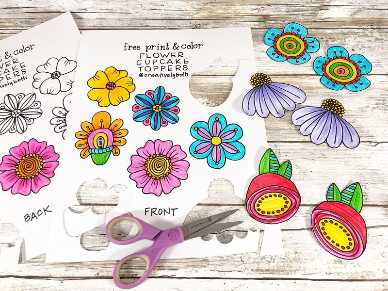 Color in a front and back flower then cut them out with scissors Creatively Beth #creativelybeth #freeprintable #doodle #flowers #cupcaketopper