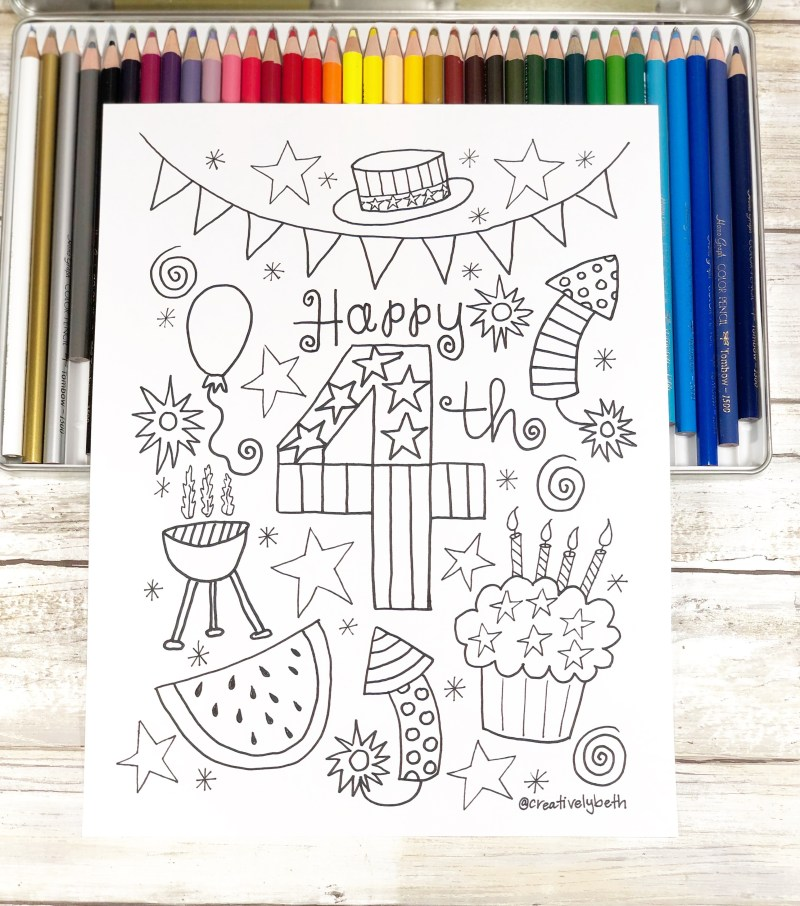 Download, print and color this free hand drawn art for the Fourth of July Creatively Beth #creativelybeth #free #printable #coloringpage #printandcolor #fourthofjuly #handdrawn