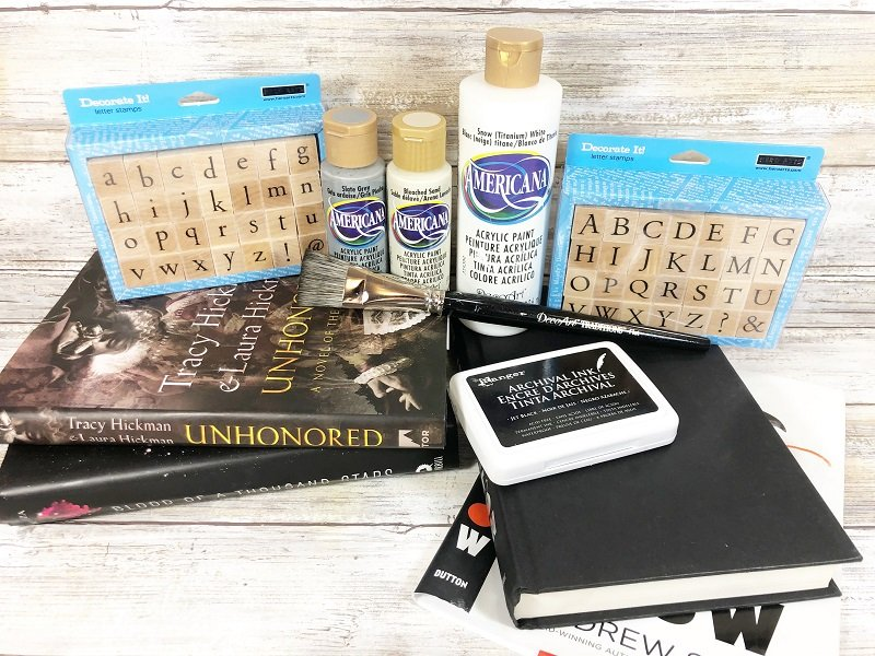 Materials needed for How to DIY Book Stack with Dollar Tree Supplies Creatively Beth #creativelybeth #dollartreecraft #homedecor #bookstack #diy
