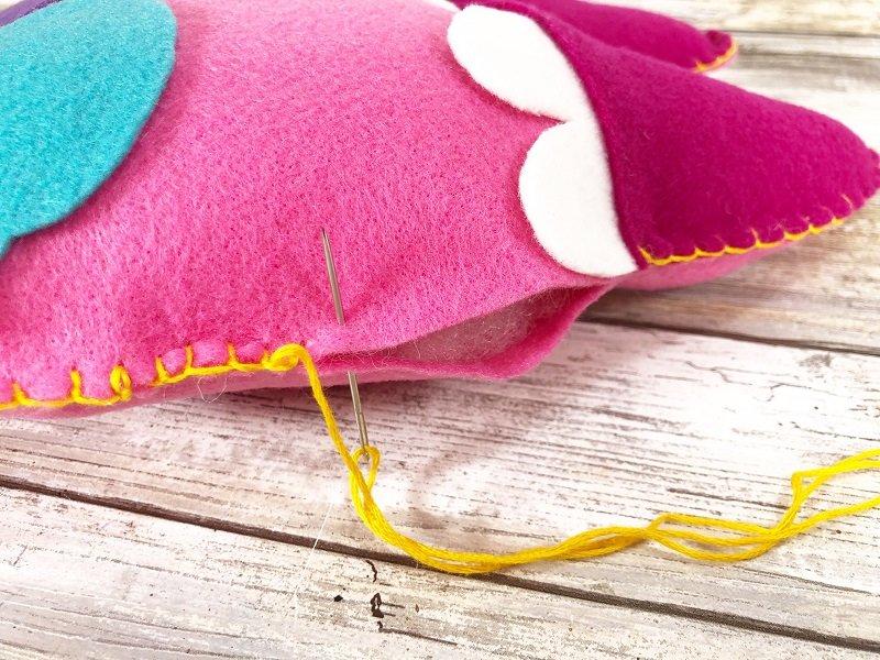Stitch Tooth Fairy Monster Pillow closed Creatively Beth #creativelybeth #toothfairy #fairfieldworld #80daysofpolyfil #polyfil #felt #monster #craft