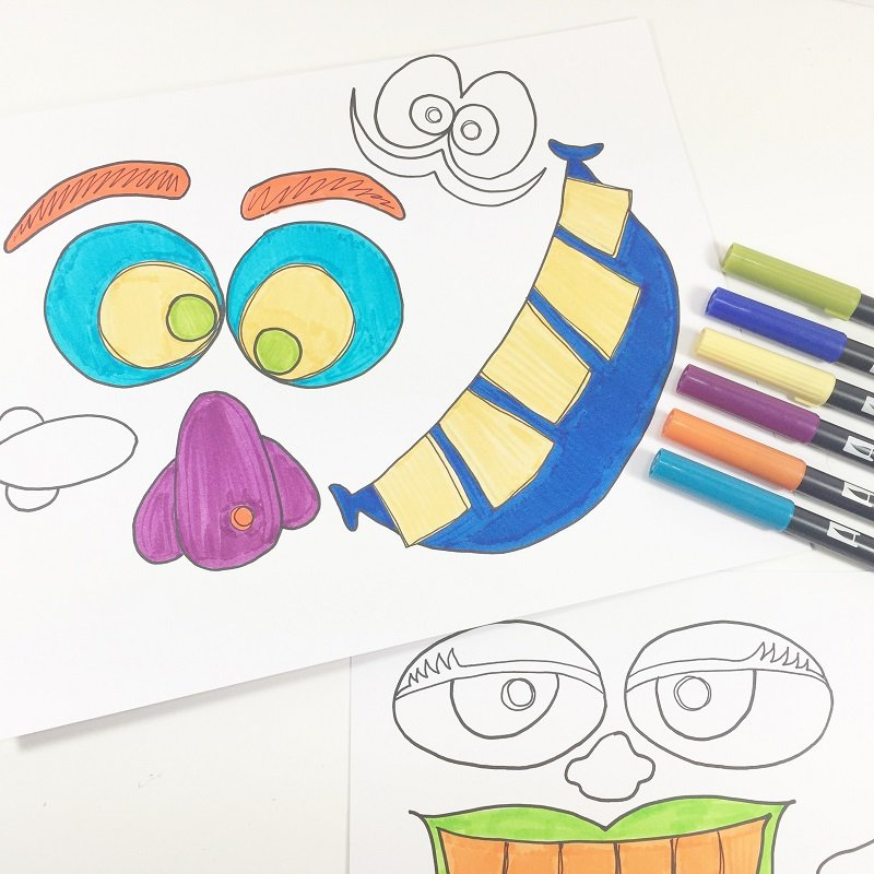 Color in the Monster eyes, noses and mouths with Tombow Dual Brush Pens Creatively Beth #creativelybeth #monsterpumpkins #nocarvepumpkins #freeprintable #kidscraft #halloweencraft