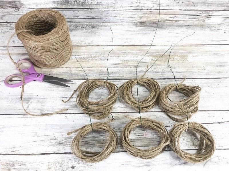 Create six bundles of twine for each pumpkin Creatively Beth #creativelybeth #dollartreecrafts #twinepumpkins #fallhomedecor
